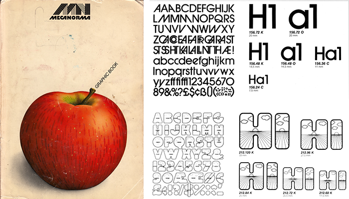 """The """"apple book"""": meccanoma. Title and two spreads (type specimen)."""